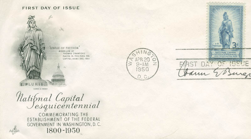 Image 1 for Chief Justice Warren E. Burger - First Day Cover Signed - HFSID 166212