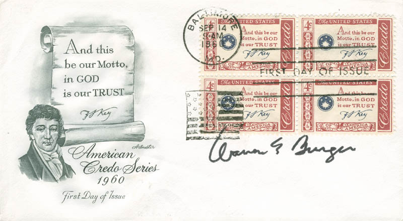 Image 1 for Chief Justice Warren E. Burger - First Day Cover Signed - HFSID 166214
