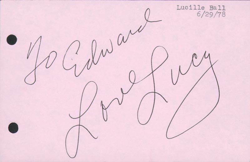 Image 1 for Lucille 'Lucy' Ball - Inscribed Signature Circa 1978 - HFSID 166315