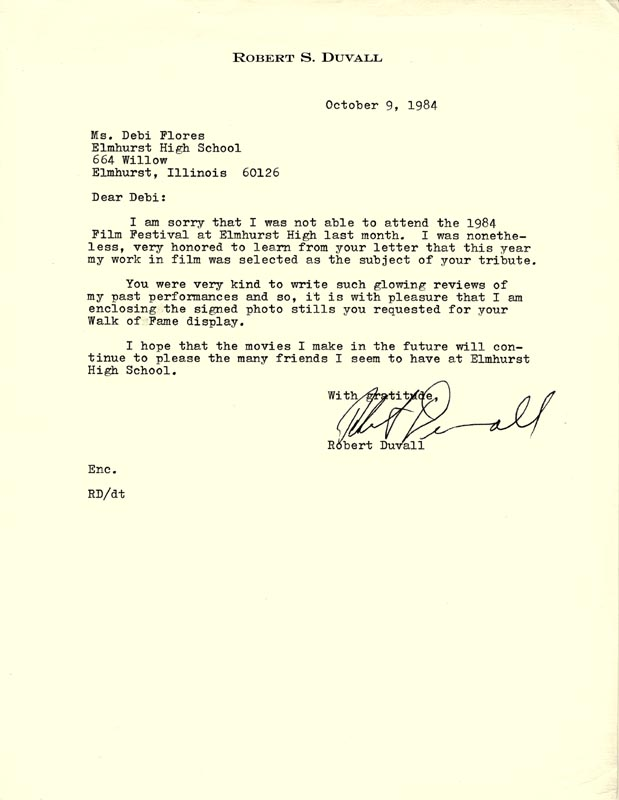 Image 1 for Robert Duvall - Typed Letter Signed 10/09/1984 - HFSID 166374