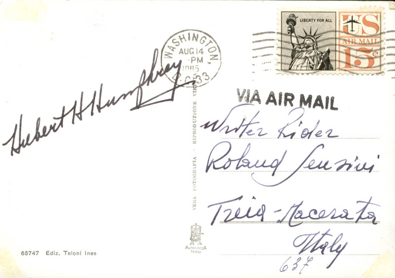 Image 3 for Vice President Hubert H. Humphrey - Picture Post Card Signed Circa 1985 - HFSID 166614