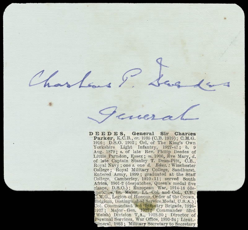 Image 1 for General Charles P. Deedes - Autograph - HFSID 166855