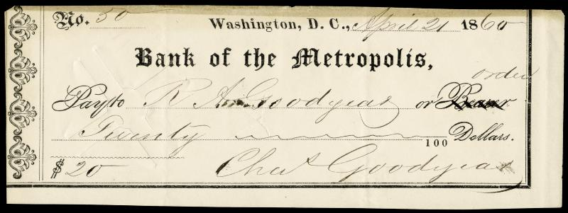 Image 1 for Charles Goodyear - Autographed Signed Check 04/21/1860 - HFSID 166920