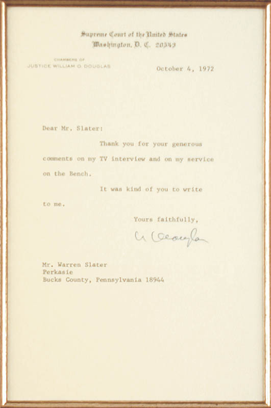Image 3 for Associate Justice William O. Douglas - Typed Letter Signed 10/04/1972 - HFSID 166970