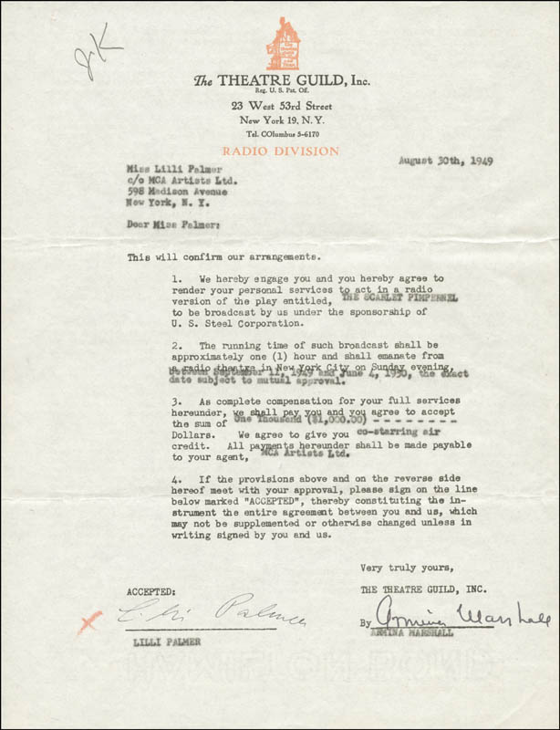 Image 1 for Lilli Palmer - Contract Signed 08/30/1949 co-signed by: Armina Marshall - HFSID 167025