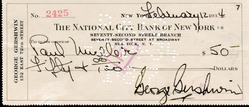 Image 1 for George Gershwin - Autographed Signed Check 02/12/1934 - HFSID 167082
