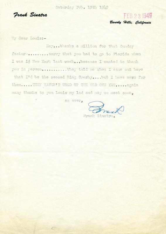 Image 1 for Frank Sinatra - Typed Letter Signed 02/19/1949 - HFSID 167096