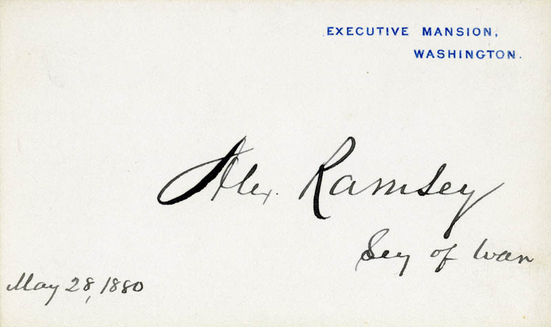 Image 1 for Alexander Ramsey - White House Card Signed 05/28/1880 - HFSID 167165