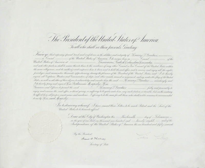 Image 1 for President Calvin Coolidge - Diplomatic Appointment Signed 02/13/1928 co-signed by: Frank B. Kellogg - HFSID 16719