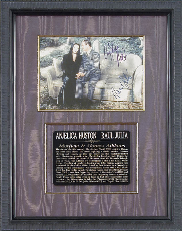 Image 1 for The Addams Family Movie Cast - Autographed Signed Photograph co-signed by: Raul Julia, Anjelica Huston - HFSID 167242