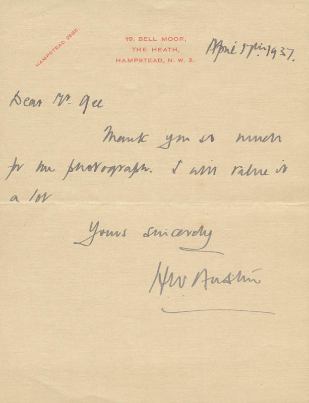 Image 1 for H. Wilfred 'Bunny' Austin - Autograph Letter Signed 04/14/1937 - HFSID 167286