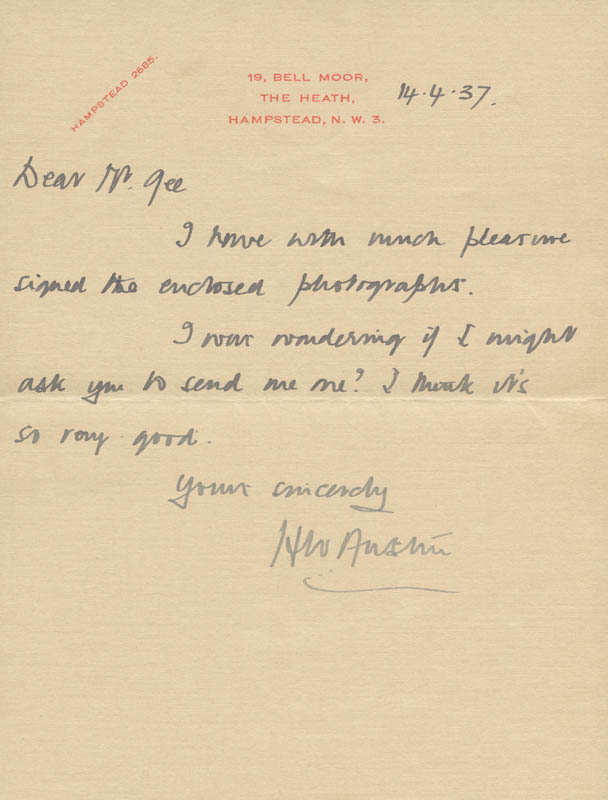 Image 1 for H. Wilfred 'Bunny' Austin - Autograph Letter Signed 04/17/1937 - HFSID 167287