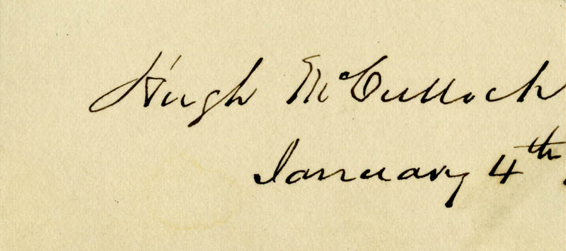 Image 1 for Hugh Mcculloch - Autograph 1/4 - HFSID 16753
