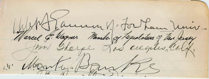 Image 1 for Jim Thorpe - Autograph Circa 1941 co-signed by: Monty Banks, Marcel E. Wagner, Gracie Fields, Robert Ignatius Gannon - HFSID 167539