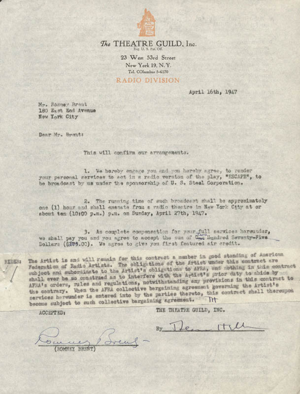 Image 1 for Romney Brent - Contract Signed 04/16/1947 - HFSID 167610
