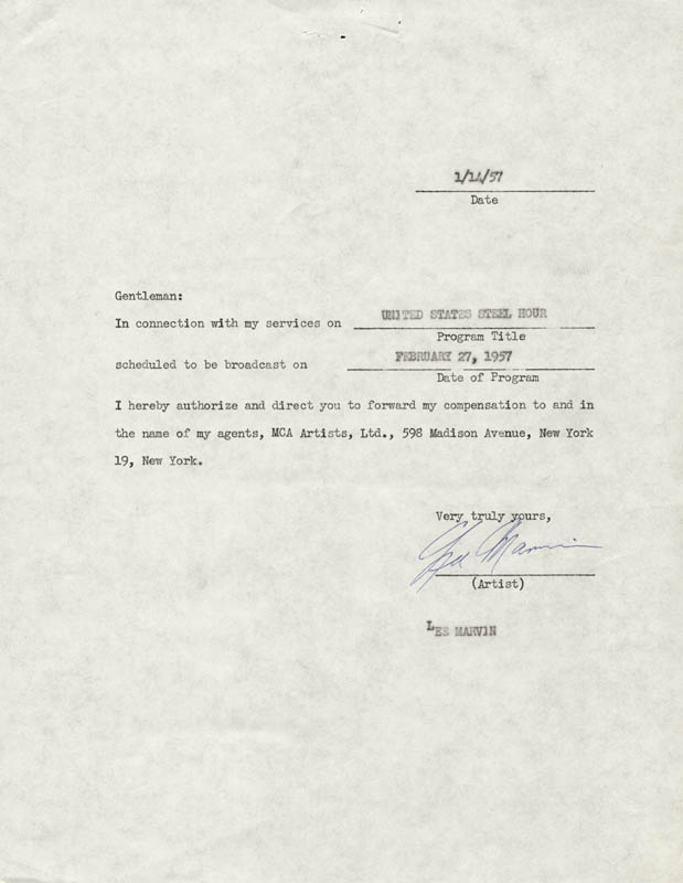 Image 1 for Lee Marvin - Document Signed 01/14/1957 - HFSID 167623