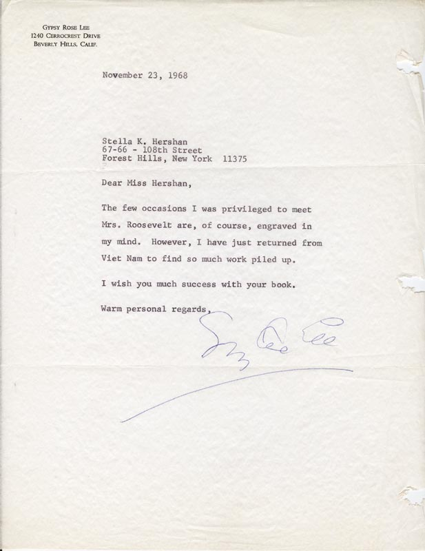 Image 1 for Gypsy Rose Lee - Typed Letter Signed 11/23/1968 - HFSID 167697