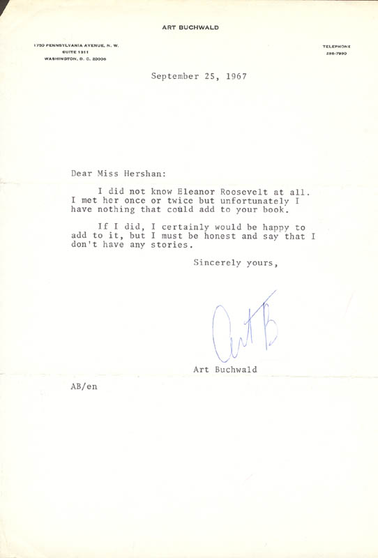 Image 1 for Art Buchwald - Typed Letter Signed 09/25/1967 - HFSID 167699