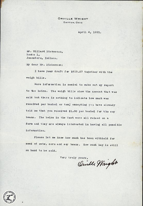 Image 1 for Orville Wright - Typed Letter Signed 04/04/1935 - HFSID 167842