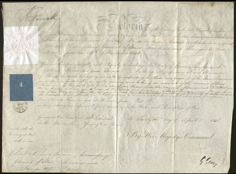 Image 1 for Queen Victoria (Great Britain) - Military Appointment Signed 04/12/1848 co-signed by: Henry George Earl Grey III - HFSID 167868