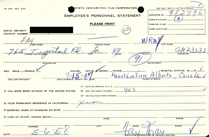 Image 1 for Fay Wray - Document Signed 05/06/1958 - HFSID 167885
