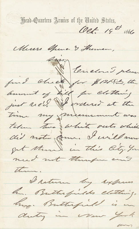 Image 3 for President Ulysses S. Grant - Autograph Letter Signed 10/19/1866 - HFSID 16826
