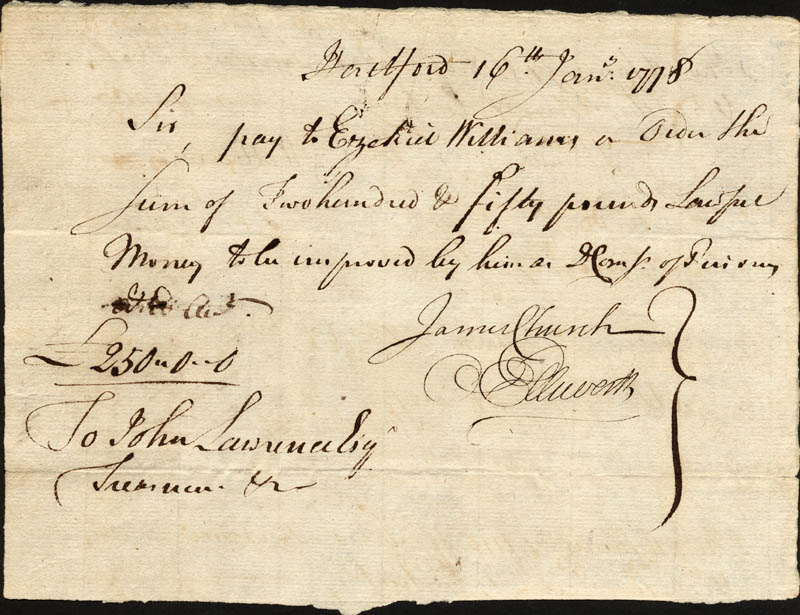 Image 1 for Chief Justice Oliver Ellsworth - Manuscript Document Signed 01/16/1778 co-signed by: Ezekiel Williams, James Church - HFSID 168329