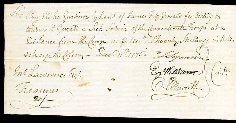 Image 1 for Chief Justice Oliver Ellsworth - Autograph Document Signed 12/11/1775 with co-signers - HFSID 168341