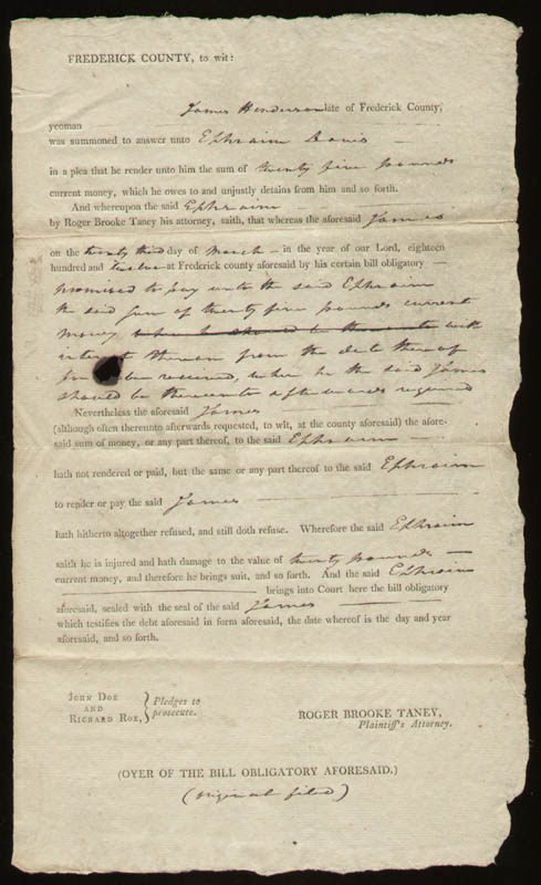 Image 3 for Chief Justice Roger B. Taney - Document Signed 03/23/1812 - HFSID 168352