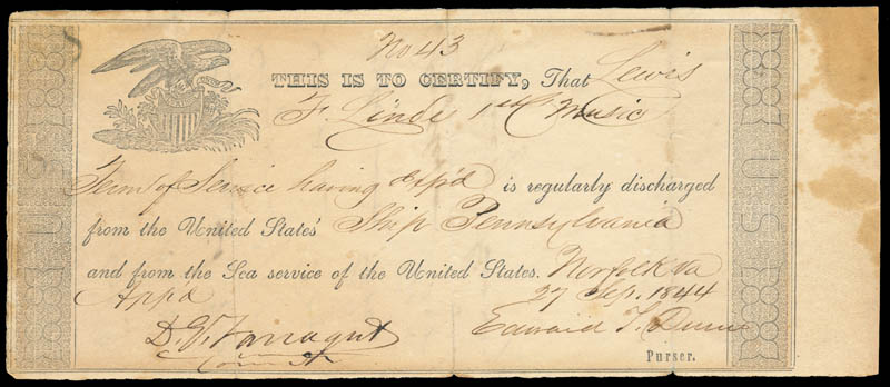 Image 1 for Admiral David G. Farragut - Document Signed 09/27/1844 - HFSID 168432