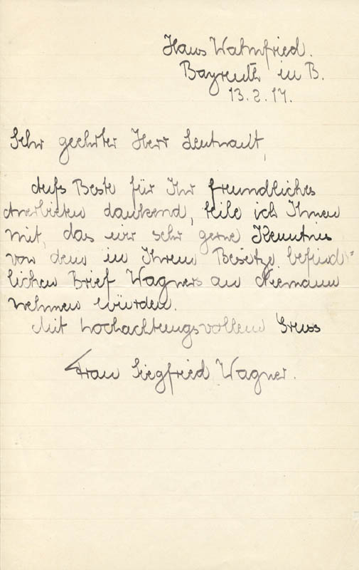 Image 1 for Mrs. Siegfried Wagner - Autograph Letter Signed 02/13/1917 - HFSID 168497