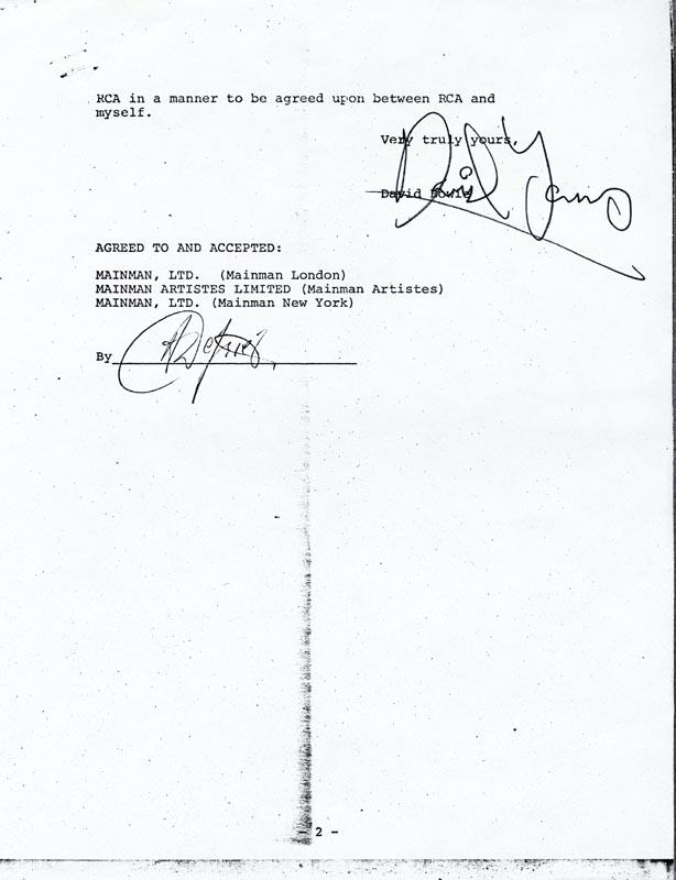 Image 1 for David Bowie - Document Signed 01/15/1975 - HFSID 168595