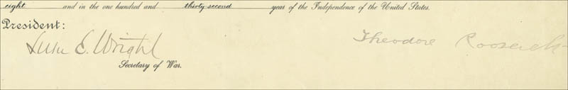 Image 1 for President Theodore Roosevelt - Military Appointment Signed 07/01/1908 co-signed by: Luke E. Wright - HFSID 16873