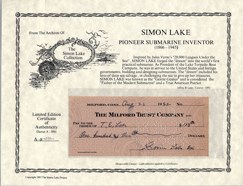 Image 1 for Simon Lake - Autographed Signed Check 08/23/1932 - HFSID 168738