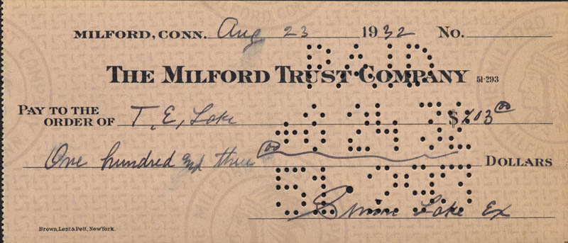 Image 3 for Simon Lake - Autographed Signed Check 08/23/1932 - HFSID 168738
