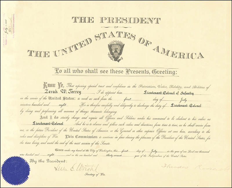 Image 3 for President Theodore Roosevelt - Military Appointment Signed 07/01/1908 co-signed by: Luke E. Wright - HFSID 16873