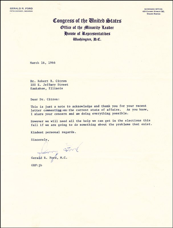 Image 1 for President Gerald R. Ford - Typed Letter Signed 03/16/1966 - HFSID 16884