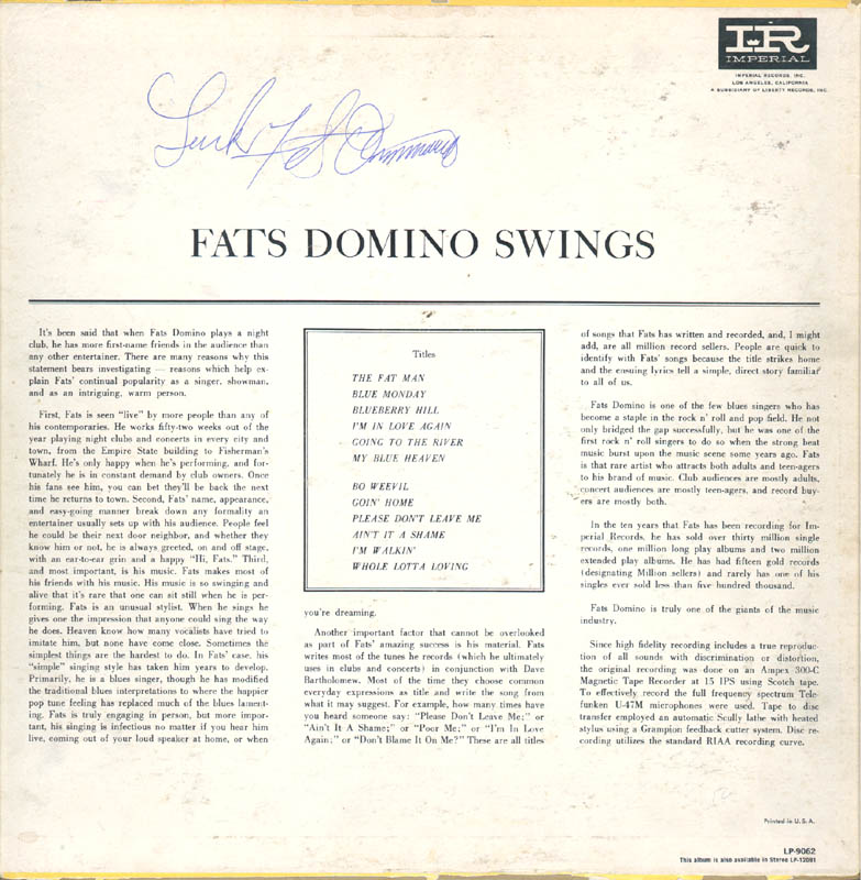 Image 3 for Fats Domino - Record Album Cover Signed - HFSID 168920