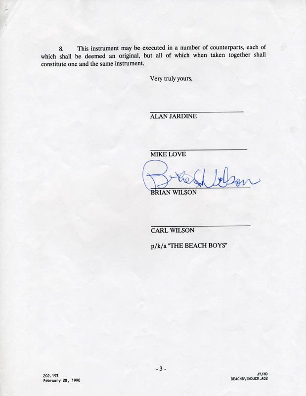 Image 1 for The Beach Boys (Brian Wilson) - Document Signed Circa 1990 - HFSID 169074