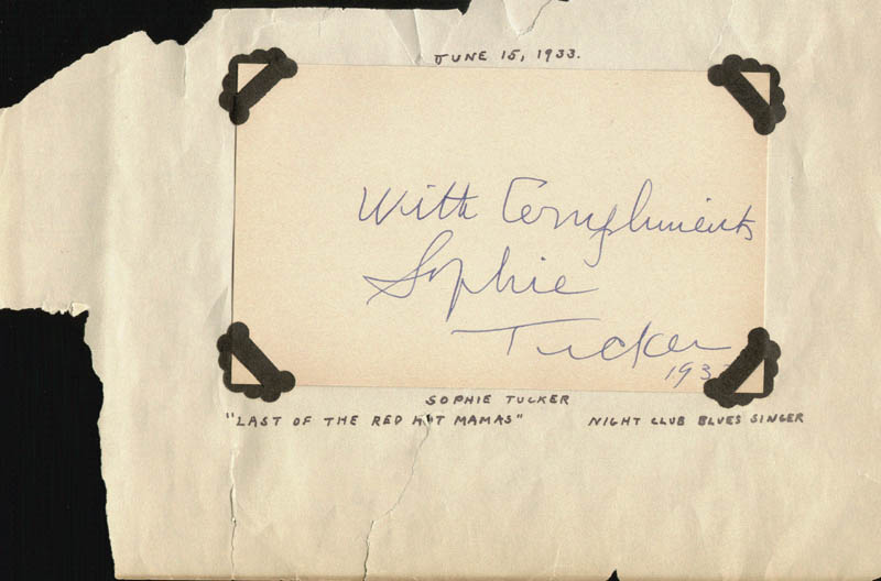 Image 1 for Sophie Tucker - Autograph Sentiment Signed 1933 - HFSID 169198