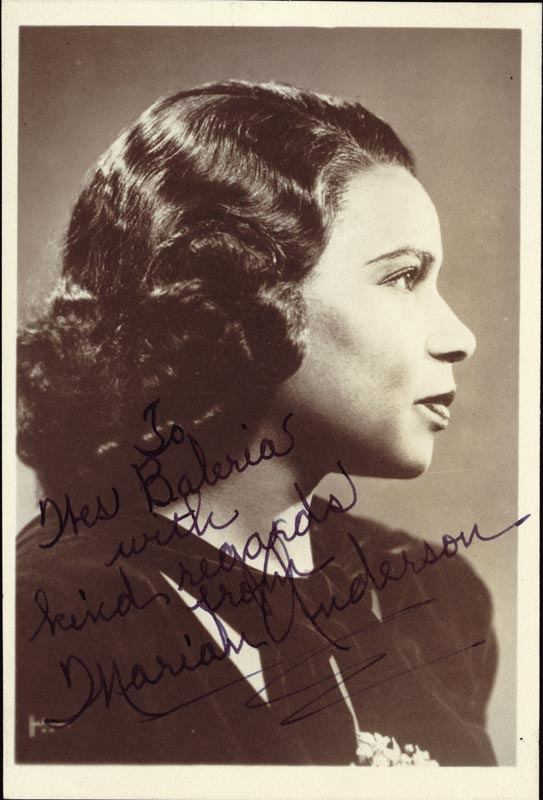 Image 1 for Marian Anderson - Autographed Inscribed Photograph - HFSID 169208