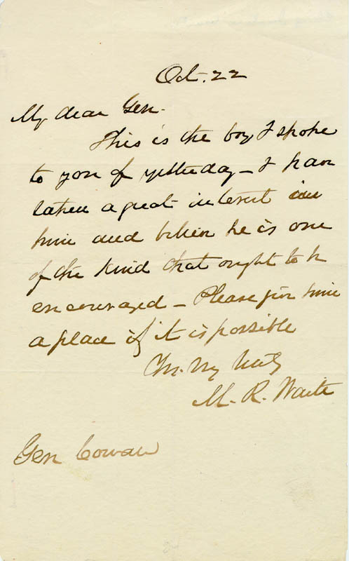 Image 1 for Chief Justice Morrison R. Waite - Autograph Letter Signed 10/22 - HFSID 169238