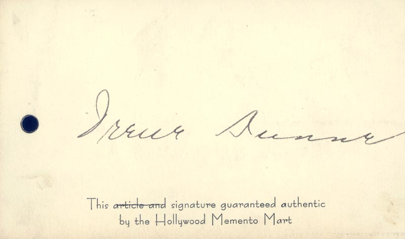 Image 1 for Irene Dunne - Autograph - HFSID 169260