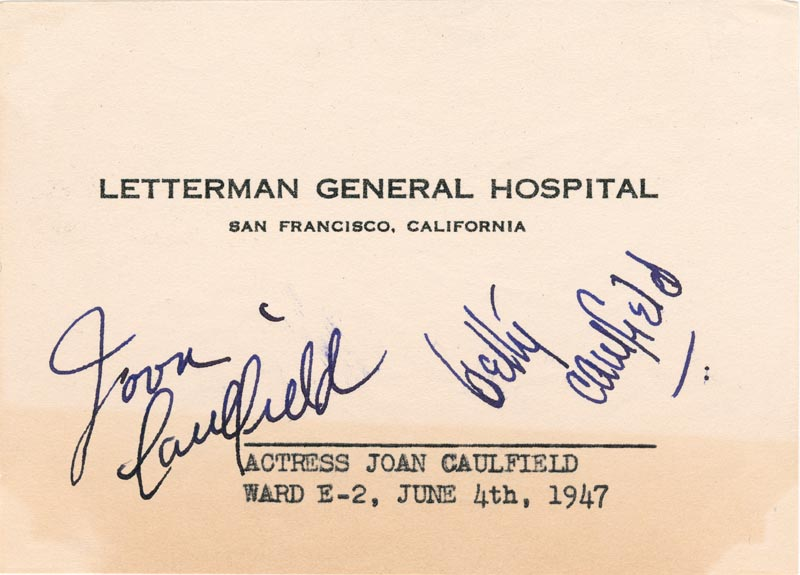Image 1 for Joan Caulfield - Autograph Circa 1947 co-signed by: Betty Caulfield - HFSID 169361