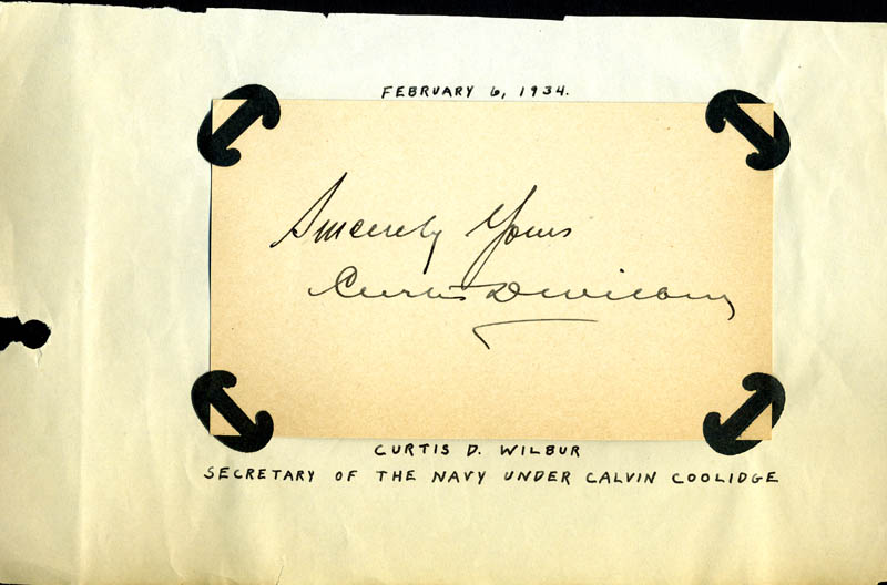 Image 1 for Curtis D. Wilbur - Autograph Sentiment Signed Circa 1934 - HFSID 169434