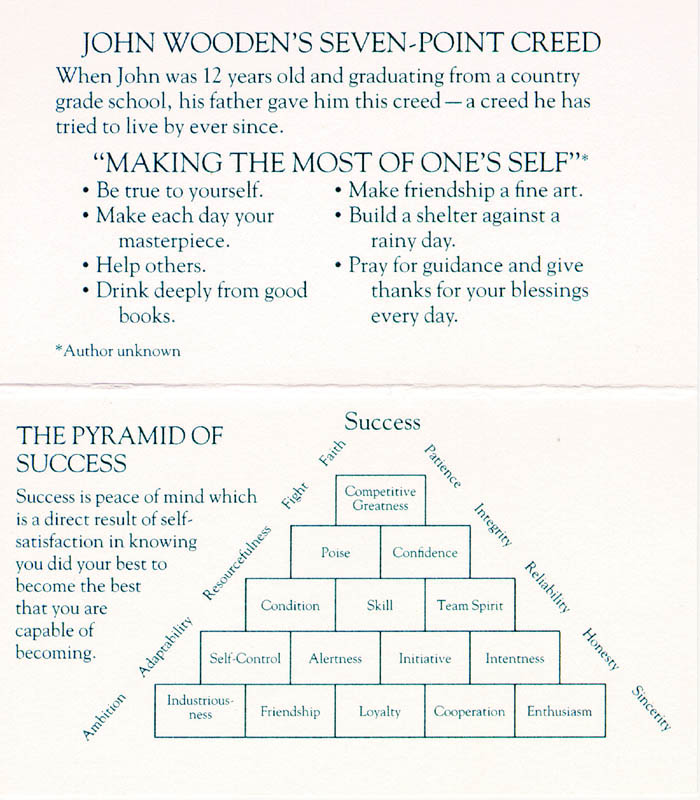 This is a picture of Unusual John Wooden Pyramid of Success Printable