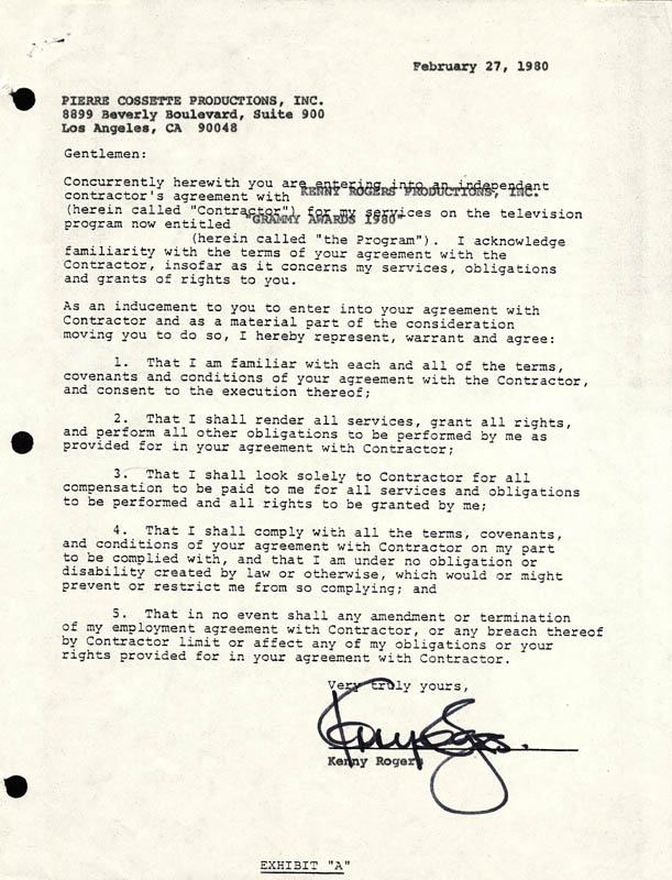 Image 1 for Kenny Rogers - Contract Signed 02/27/1980 - HFSID 169644