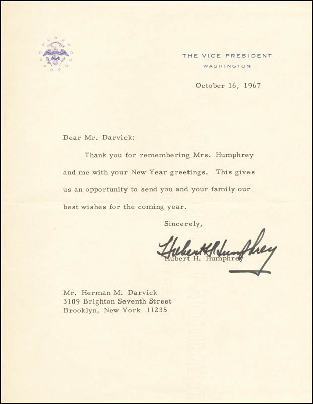 Image 1 for Vice President Hubert H. Humphrey - Typed Letter Signed 10/16/1967 - HFSID 16966