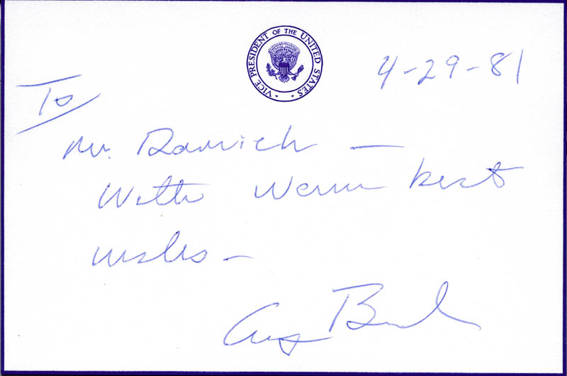 Image 1 for President George H.W. Bush - Autograph Note Signed 04/29/1981 - HFSID 16971