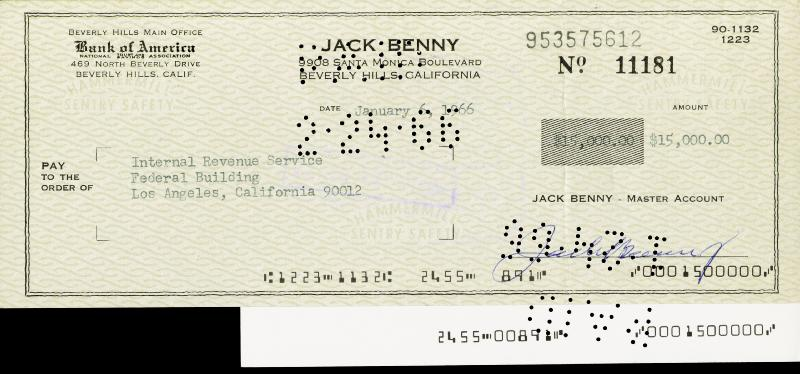 Image 1 for Jack Benny - Autographed Signed Check 01/06/1966 - HFSID 169773
